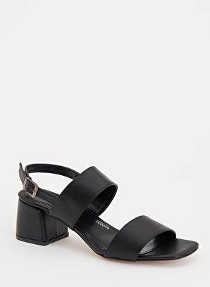 DeFacto Deri Görünümlü Topuklu Sandalet